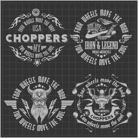 rocker: Vintage motorcycle labels, badges on dark background - vector stock