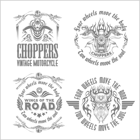 motorbikes: Vintage motorcycle labels, badges on light background - vector stock