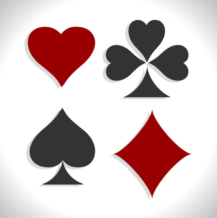 ace of diamonds: Playing card symbols with shadows. Vector set. Illustration