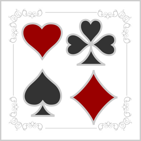 playing card: Playing card symbols in old style. Vector set.