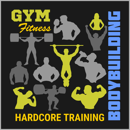 bodybuilding: Bodybuilders silhouettes - design elements for , emblems. Vector set.