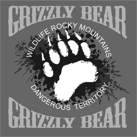 paw paw: Grizzly Bear footprint emblem on light grunge background - vector illustration