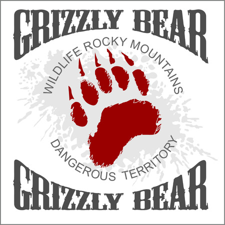 Grizzly Bear footprint emblem on light grunge background - vector illustration