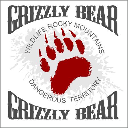 huella pie: Grizzly Bear huella emblema en el fondo del grunge luz - ilustración vectorial Vectores