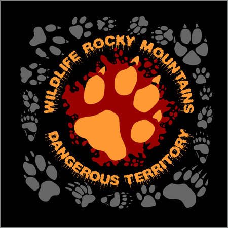 marten: Wolf footprint emblem for t-shirt - vector illustration Illustration