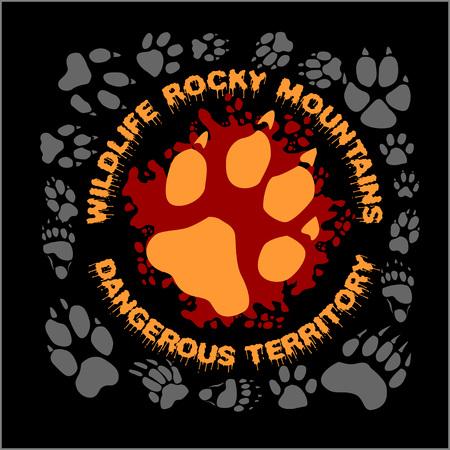 marten: Wolf footprint emblem for t-shirt - vector illustration Illustration