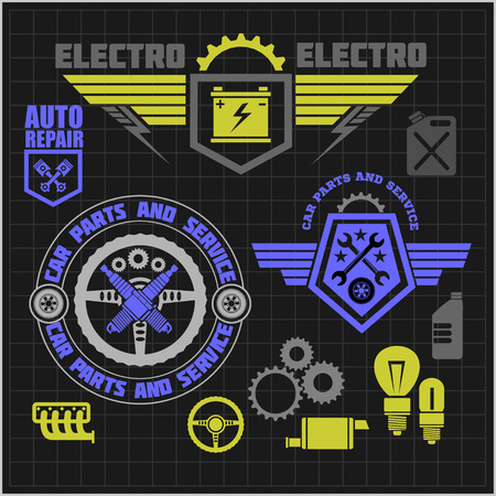 garage mechanic: Car service icons and labels set on dark background. Vector set.