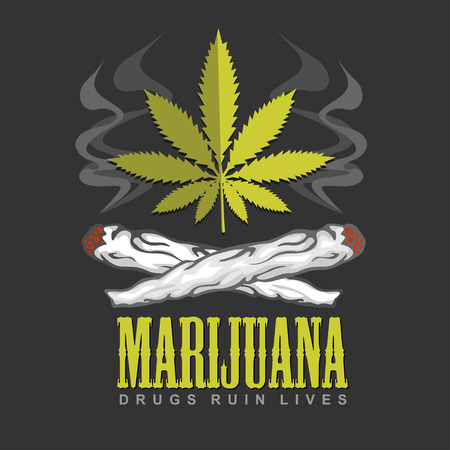 weeds: Cross drug marijuana. Marijuana  - vector emblem.