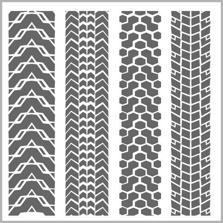 huellas de llantas: Neumático de coche rastrea con el grunge en el fondo blanco - vector conjunto