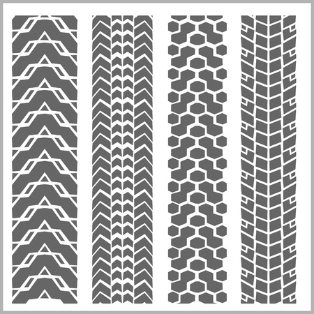 Car tire tracks with grunge on white background - vector set