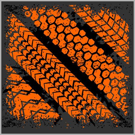 car tire: Car tire tracks with grunge on dark background - vector set Illustration