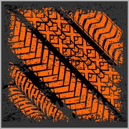 Car tire tracks with grunge on dark background - vector set Stock Illustratie