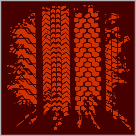 skidding: Car tire tracks with grunge on dark background - vector set Illustration
