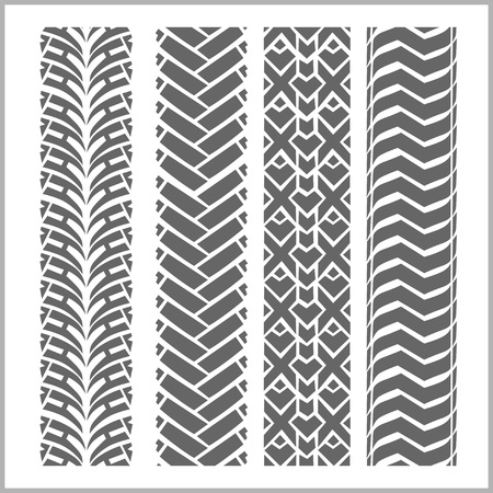 tyre tread: Car tire tracks with grunge on white background - vector set