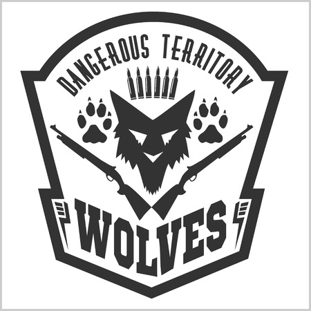 foot soldier: Security badge - wolves. Military shield - Wolf on white background.