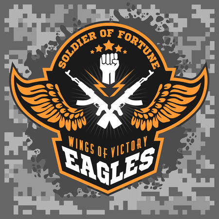 eagle badge: Eagle wings - military label, badges and design elements. Vector illustration.