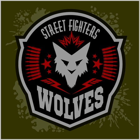 wolf: Wolves - military label, badges and design elements. Street fighting club and Security badge with wolf, foot tracks  and inscriptions Wolves. Illustration