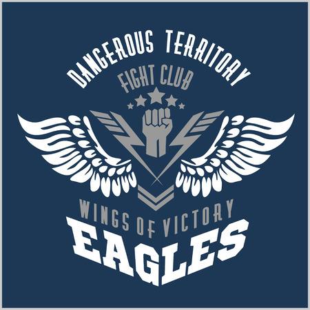 イーグルの翼 - 軍事ラベル、バッジおよびデザイン要素。ベクトルの図。