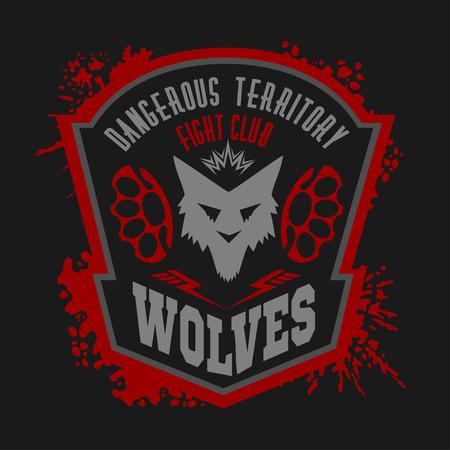 huellas de perro: Lobos - etiqueta militar, escudos y elementos de diseño. Calle club de la lucha y la insignia de la seguridad con lobo, pistas de pie e inscripciones Lobos. Vectores