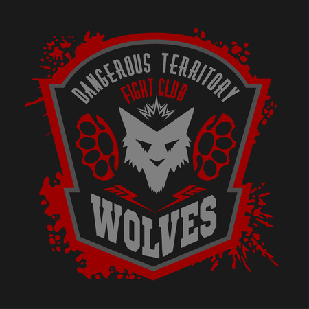 gun dog: Wolves - military label, badges and design elements. Street fighting club and Security badge with wolf, foot tracks  and inscriptions Wolves. Illustration