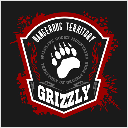 animal fight: Grizzly Bear - military label, badges and design elements. Street fighting club and Security badge with bear footprint, foot tracks  and inscriptions Grizzly. Illustration