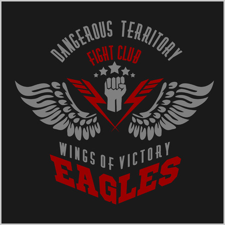 eagle tattoo: Eagle wings - military label, badges and design elements. Vector illustration.