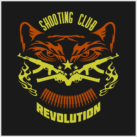 wildlife shooting: Shooting Club - emblem with crossed guns and tiger head. Vector illustration. Illustration