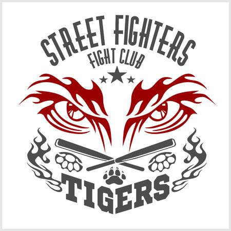 fighting club emblem tiger footprint and wings labels badges rh 123rf com fighting illini logos fighting irish logos