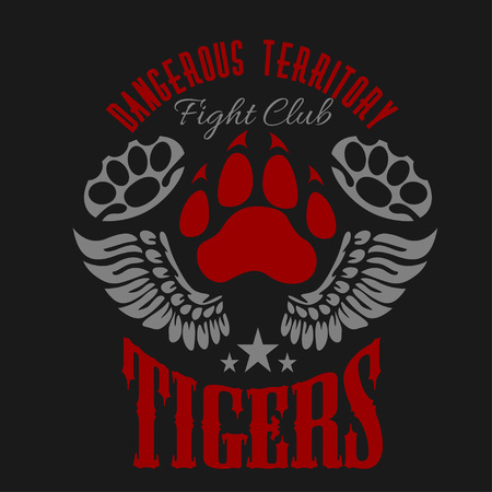 knuckles: Fighting club emblem - tiger footprint and wings. Labels, badges, logos. Monochrome graphic style