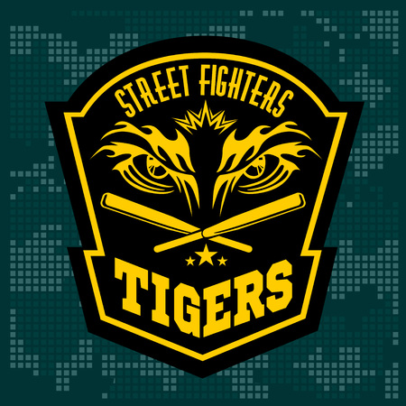 sports club: Fighting club emblem - tiger Eye. Labels, badges, logos. Monochrome graphic style. Monochrome graphic style