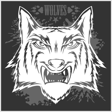 athletic type: Retro wolf mascot athletic design complete with wolf head. Vector stock.
