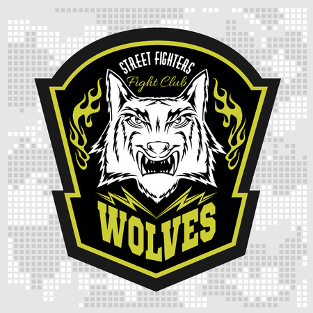 animal track: Wolves - military label, badges and design elements. Street fighting club and Security badge with wolf and inscriptions Wolves.