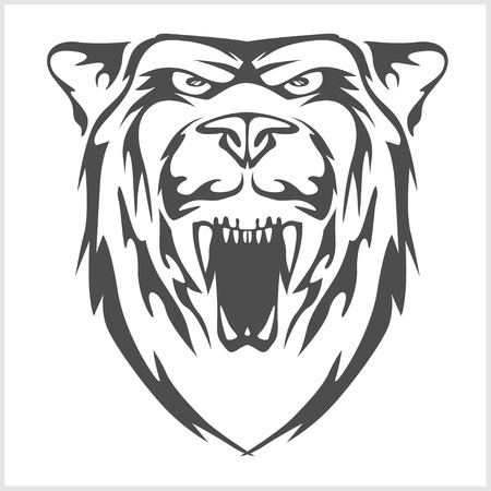 national parks: Grizzly bear head - vector emblem. Vector stock. Illustration