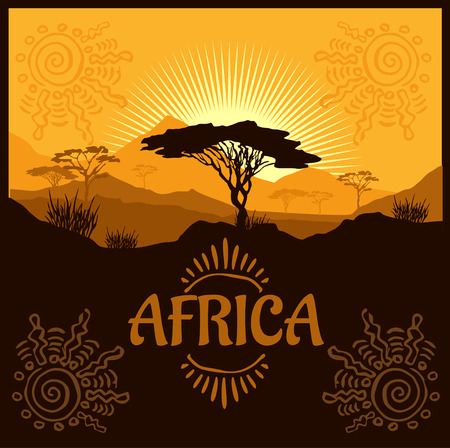 African landscape - vector illustration emblem and logo.
