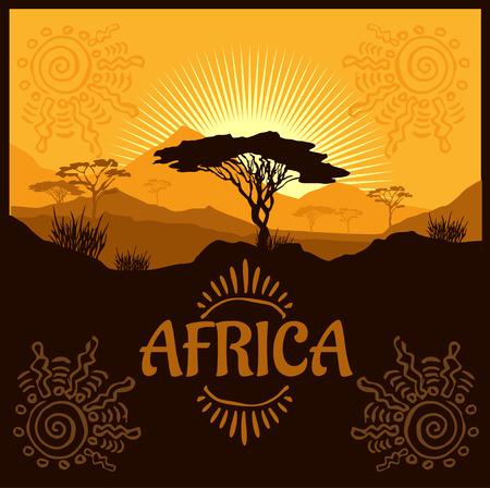 African landscape - vector illustration emblem and logo.