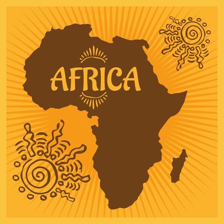 yellow adventure: Africa - vector emblem on light background. Vector illustration.