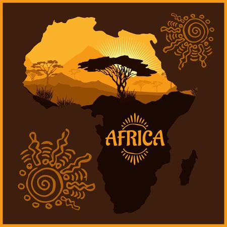 yellow adventure: African landscape - vector illustration emblem and logo.