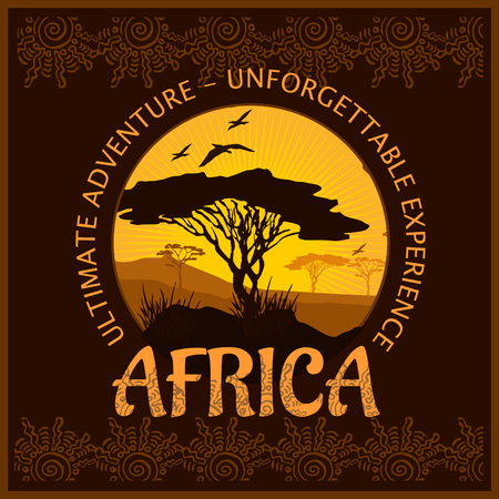 unforgettable: South Africa - unforgettable adventure trip. Vector illustration.