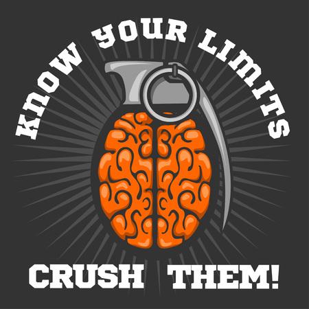 grenade: Brain distortion from grenade - Psychological  . Vector stock.