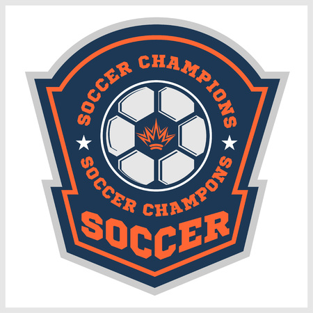 patch of light: Vector Soccer Badge, patch and Football Emblem on light background. Illustration