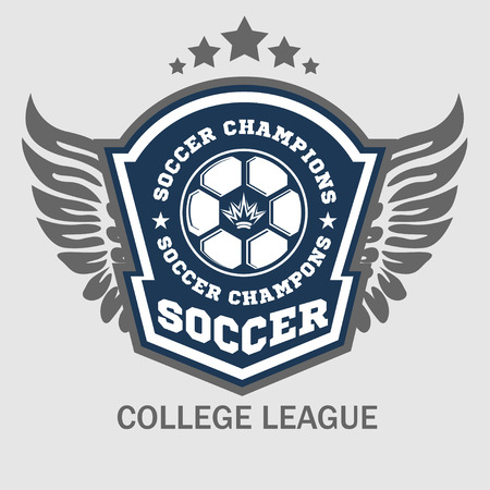 Vector Soccer Badge, patch and Football Emblem on light background. Vettoriali
