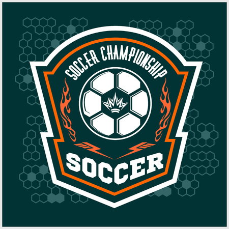 Vector Soccer Badge, patch and Football Emblem on dark background. Vectores