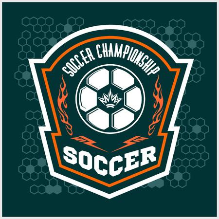 balon de futbol: Vector de fútbol de la insignia, remiendo y Fútbol emblema sobre fondo oscuro.