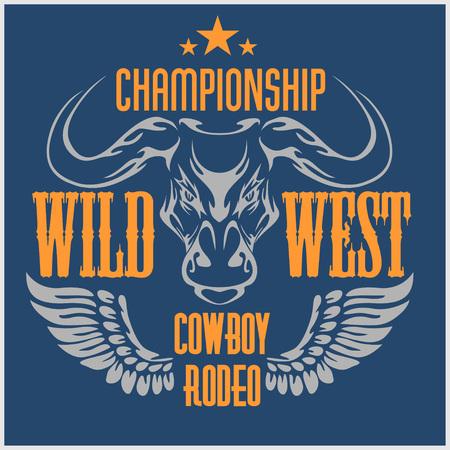 bucking bronco: Wild west championship - cowboy rodeo, vintage vector artwork for wear. Illustration
