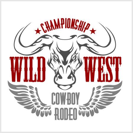 bucking bull: Wild west championship - cowboy rodeo, vintage vector artwork for wear. Illustration