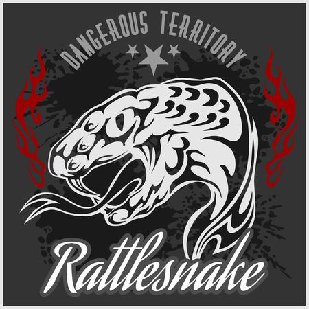 rattlesnake: Wild west and rattlesnake -  vintage artwork for wear.  Vector stock.