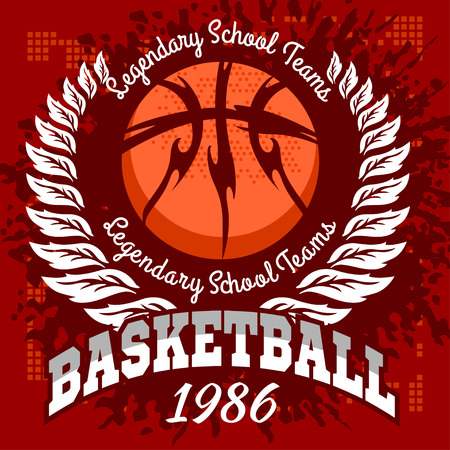 Basketball emblem for T-shirts Prints on a dark background - vector stock.