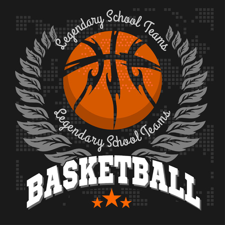 baloncesto: Emblema del baloncesto por camisetas Reproducciones sobre un fondo oscuro - vector stock.