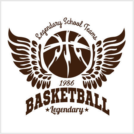 Basketbal embleem voor T-shirts afdrukken op een lichte achtergrond - vector stock. Stock Illustratie