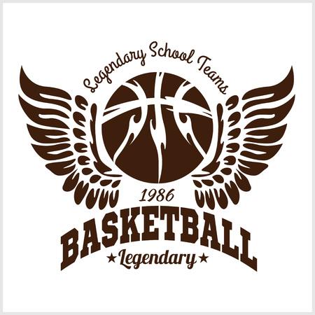 Basketball emblem for T-shirts Prints on a light background - vector stock. Illustration
